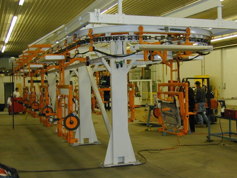 Assembly Line Systems : Overhead monorail conveyor portfolio konal automated systems